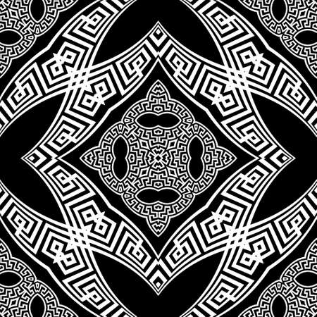 Black and white tribal ethnic seamless pattern. Vector floral modern background. Geometric greek key, meanders abstract ornament with flowers, shapes, fractals, lines. Ornate repeat symmetric design.