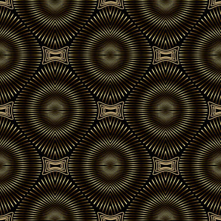 3d gold vector seamless pattern. Abstract textured background. Modern repeat grunge backdrop. 3d wallpaper. Ornate endless metal texture. Round radial lines mandalas with effects. Luxury ornaments.