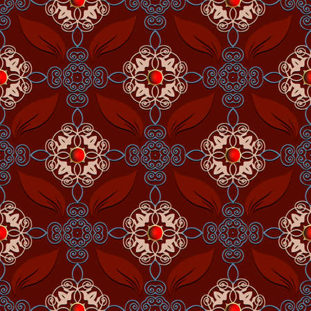 Vintage Damask seamless pattern. Ornamental arabesque red background. Repeat vector royal backdrop. Floral ornaments. Vintage flowers, leaves, 3d buttons. Beautiful luxury ornate decorative design. 矢量图像