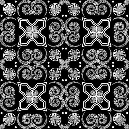 Black and white tribal ethnic seamless pattern. Vector floral modern background. Geometric greek key, meanders abstract ornament with flowers, shapes, fractals, lines, spirals, circles. Ornate design.