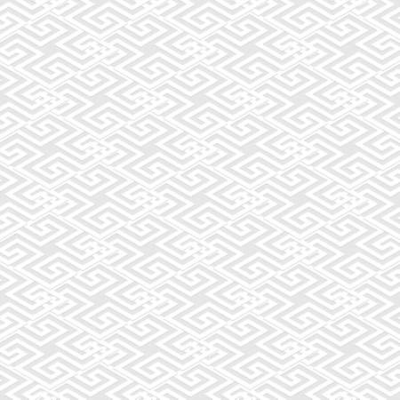 Geometric seamless pattern. Vector white background. Tribal ethnic greek key, meanders abstract ornament with greek style shapes, lines. Ornate repeat texture. Elegant decorative light backdrop.