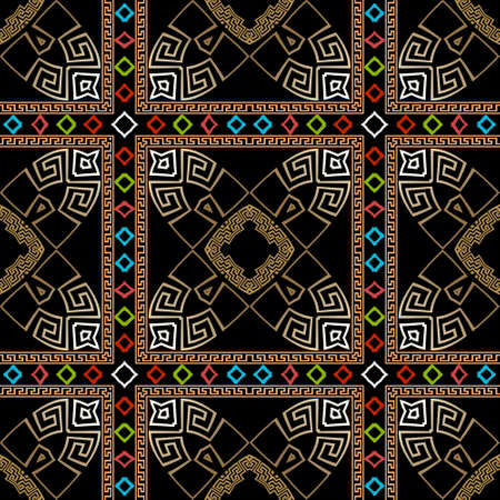 Colorful tribal ethnic seamless pattern. Vector greek background. Geometric greek key, meanders ornament with square frames, abstract flowers, shapes, rhombus, lines, borders. Ornate repeat design. 矢量图像