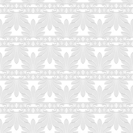 Floral greek seamless pattern. Vector white background. Geometric greek key, meanders abstract ornament with flowers, shapes. Ornate endless repeat texture. Elegant decorative light backdrop.