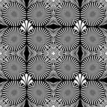 Black and white tribal ethnic seamless pattern. Vector modern background. Geometric greek key, meanders abstract ornament with flowers, radial shapes, fractals, lines. Ornate repeat symmetric design.