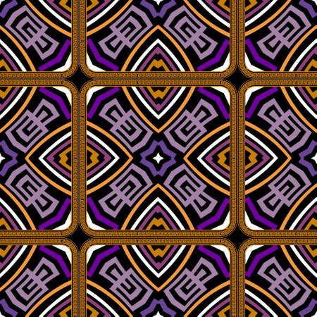 Colorful tribal ethnic seamless pattern. Vector greek background. Geometric greek key, meanders ornament with square frames, abstract flowers, shapes, rhombus, lines. Ornate repeat symmetrical design.