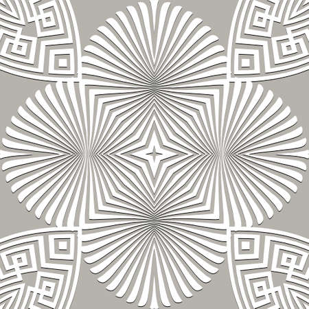 Floral seamless pattern. Vector background. Geometric greek key, meanders abstract ornament with flowers, radial shapes, fractals, lines. Ornate repeat texture. Elegant decorative light backdrop. 矢量图像