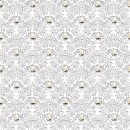 Floral jewelry 3d seamless pattern. Vector white background. Geometric greek key, meanders vintage ornament with flowers, 3d pearls. Ornate endless repeat texture. Elegant decorative light backdrop.