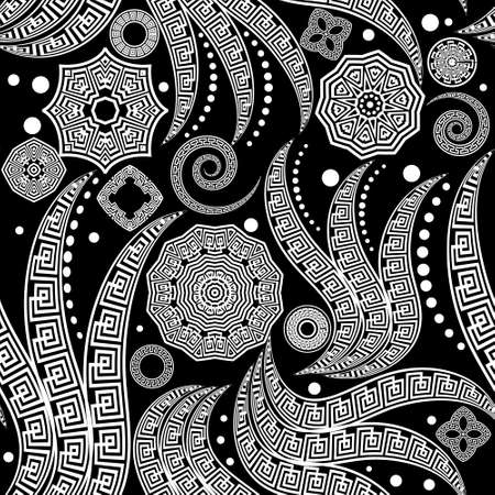 Black and white tribal ethnic paisley seamless pattern. Vector floral background. Geometric greek key, meanders abstract ornament with Paisley flowers, shapes, lines, spirals, circles, mandalas.