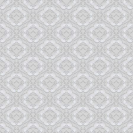 Vintage floral light seamless pattern. Vector ornamental white background. Repeat decorative backdrop. Elegant beautiful Damask ornaments. Surface texture. Ornate patterned design with white flowers.
