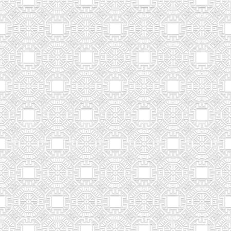 Greek seamless pattern. Vector white background. Tribal ethnic greek key, meanders geometric ornament with greek style shapes, lines, symbols. Ornate repeat texture. Elegant decorative light backdrop. 矢量图像