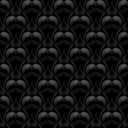 Vintage floral dark black 3d seamless pattern. Vector ornamental black background. Repeat deco backdrop. Elegant Baroque Damask style ornaments. Surface texture. Ornate design with flowers, laves. 矢量图像