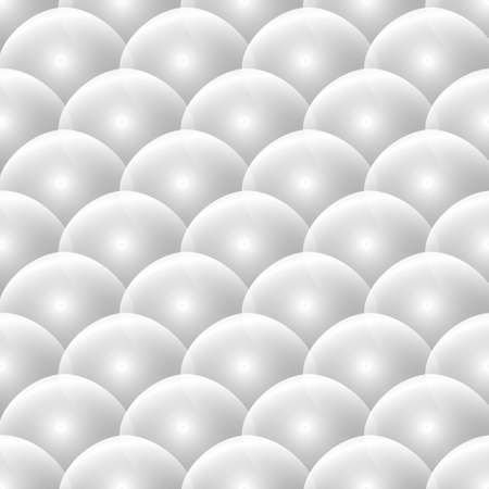3d shiny light white spheres seamless pattern. Glowing balls ornamental background. Repeat geometric vector backdrop. Modern surface ornaments. Decorative patterned ornate 3d design. Endless texture. 矢量图像