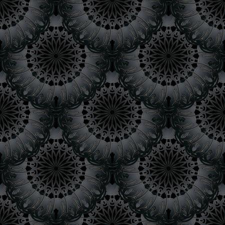 Dark black 3d mandalas seamless pattern. Ornamental background. Vector backdrop. Floral round ornaments. Vintage textured black flowers, leaves. Beautiful luxury design for textile, print, wallpapers. 矢量图像