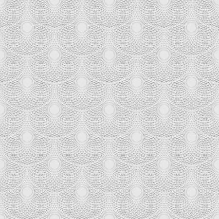 White textured lines mandalas seamless pattern. Vector ornamental light background. Repeat modern backdrop. Fractal line art round shapes, circles. Geometric abstract tiled ornaments. Ornate design.