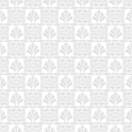 Greek floral seamless pattern. Vector white background. Tribal ethnic greek key, meanders geometric ornament with greek style shapes, flowers. Ornate repeat texture. Elegant decorative light backdrop.
