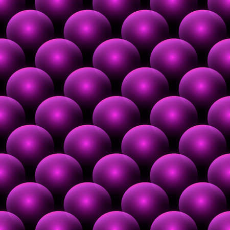 3d shiny violet spheres seamless pattern. Glowing purple balls ornamental background. Repeat geometric vector backdrop. Modern surface ornament. Decorative patterned ornate 3d design. Endless texture. 矢量图像