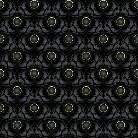 Vintage floral dark black 3d seamless pattern. Vector ornamental black background. Repeat deco ornate backdrop. Jewelry Baroque Damask style ornaments with flowers, laves, 3d buttons. Surface texture.