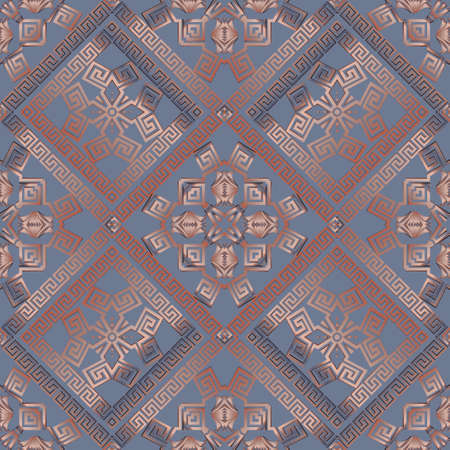 Greek tribal ethnic seamless pattern. Geometric colorful background. Vector repeat backdrop. Abstract gradient ornaments with borders, frames, greek key, meanders, geometric shapes, rhombus.