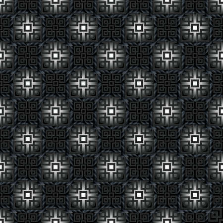 Dark black greek seamless pattern. Tribal ethnic vector background. Geometric greek key, meanders abstract shiny ornaments with squares, symbols, signs, shapes. Ornate endless texture. Elegant design. 矢量图像