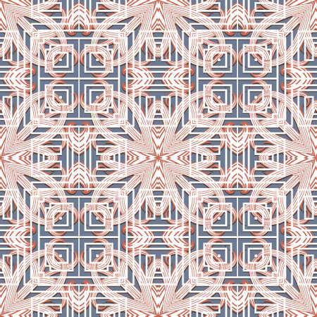 Floral colorful greek seamless pattern. Vector geometric background. Tribal ethnic backdrop. Greek ornament. Abstract line art tracery flowers with lines, greek key, meanders, frames, mazes.