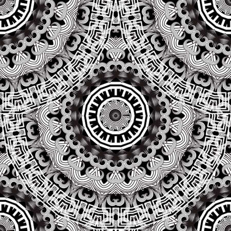 Floral black and white mandalas seamless pattern. Vector background. Decorative tribal ethnic backdrop. Greek line art tracery ornament. Abstract round flowers with lines, greek key, meanders, frames.