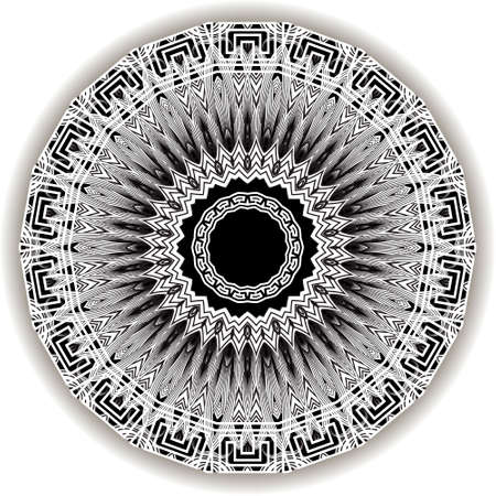 Floral black and white mandala pattern. Vector ornamental background. Decorative tribal ethnic backdrop. Greek line art tracery ornament. Abstract round flower with lines, greek key, meanders, frame.