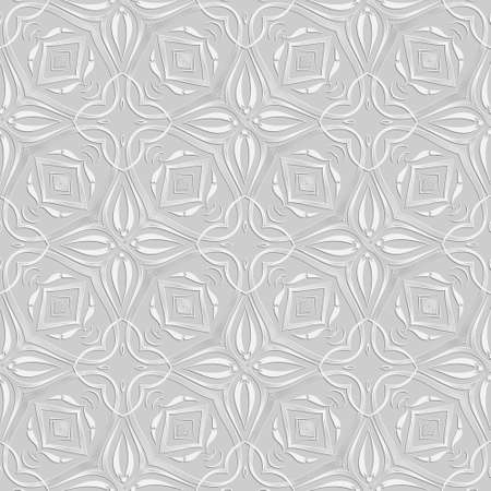 Floral light seamless pattern. Vector ornamental white background. Repeat decorative backdrop. Elegant beautiful ornaments. Surface texture. Ornate patterned design with white flowers, lines, shapes.
