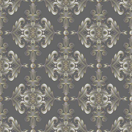Vintage floral Damask Baroque style 3d seamless pattern. Vector ornamental background. Repeat backdrop. Elegant antique ornaments. Surface texture. Ornate design with flowers, laves, round 3d buttons. 矢量图像