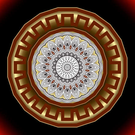 Round 3d mandala pattern. Ornamental background. Vector backdrop. Floral line art tribal ethnic ornament. Vintage flowers, leaves. Beautiful luxury ornate art design for textile, prints, wallpapers.
