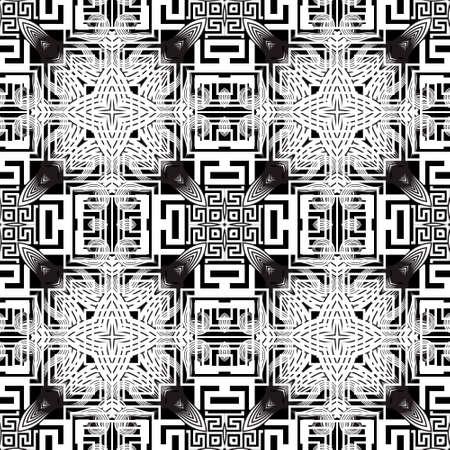 Floral black and white greek seamless pattern. Vector geometric background. Tribal ethnic backdrop. Greek ornament. Abstract line art tracery flowers with lines, greek key, meanders, frames, mazes.