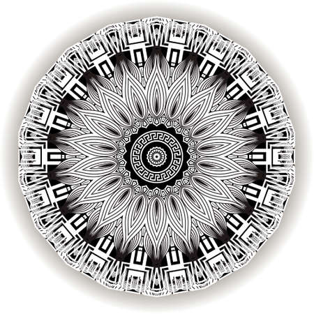 Floral black and white mandala pattern. Vector ornamental background. Decorative tribal ethnic backdrop. Greek line art tracery ornaments. Abstract round flower with lines, greek key, meanders, frame. 矢量图像