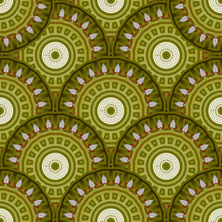 Floral green mandalas seamless pattern. Vector colorful background. Decorative tribal ethnic backdrop. Greek line art tracery ornament. Abstract round flowers with lines, greek key, meanders, frames.