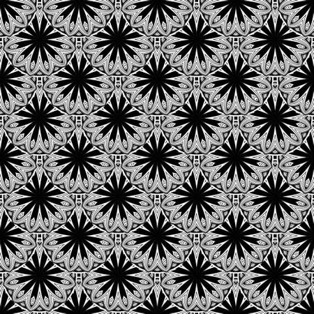 Black and white floral seamless pattern. Vector ornamental background. Repeat abstract backdrop. Floral line art tiled ornaments with round mandalas, flowers, lines, shapes. Ornate decorative design.