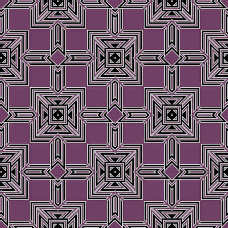 Geometric abstract seamless pattern. Colorful ornamental geometry background. Vector repeat modern backdrop. Geometrical shapes ornament with stripes, lines, squares, rhombus, triangles. Ornate design