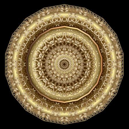 Floral vintage gold 3d mandala pattern. Vector ornamental background. Decorative backdrop. Greek ornaments. Luxury rosette with flowers, leaves, greek key, meanders, borders, frames. Surface texture.