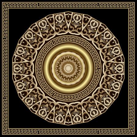 Floral vintage round 3d mandala pattern. Square frame. Vector ornamental background. Decorative backdrop. Greek ornaments. Luxury rosette with flowers, leaves, greek key, meanders, borders, frames.