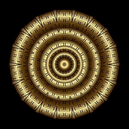 Textured gold 3d greek mandala pattern. Vector ornamental background. Decorative backdrop. Golden ornaments. Luxury rosette with greek key, meanders, symbols, signs. Surface texture. Ornate design.