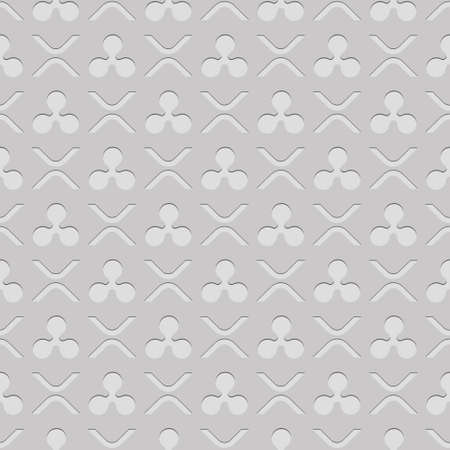 Abstract Ripple symbols seamless pattern. Light white elegant background. Repeat digital money backdrop. Modern crypto ornaments with ripple xrp tokens and signs. Vector illustration. Ornate design.