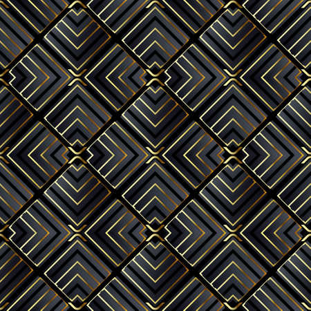 Geometric abstract black and gold seamless pattern. Colorful ornamental geometry background. Vector repeat modern backdrop. Striped ornament with stripes, zigzag lines, rhombus. Luxury design.
