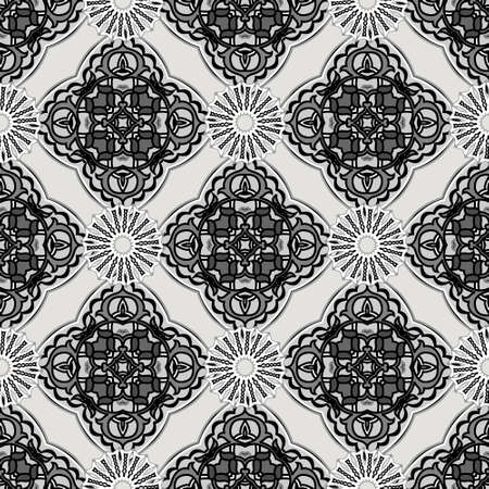 Monochrome black and white seamless pattern. Vector ornamental arabesque background. Repeat abstract backdrop. Floral ornaments with round mandalas, flowers, lines, shapes. Ornate decorative design.