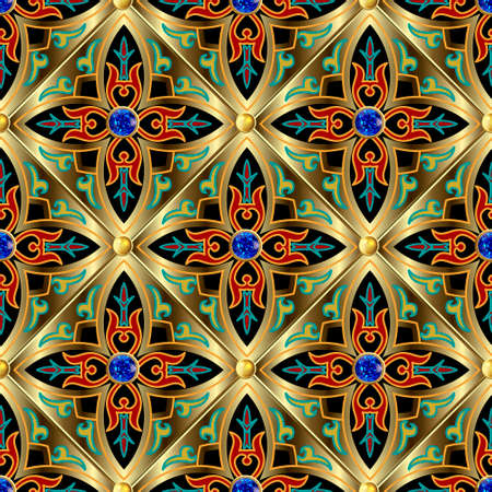 Jewelry seamless pattern. Ornamental arabesque background. Repeat waffle backdrop. Vintage floral arabic ornaments. Blue sapphire gemstones, 3d gold buttons, flowers, leaves, rhombus. Luxury design. 矢量图像