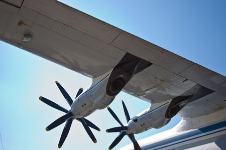 turboprop: Detail view of a AN-22 wing and turboprop motors