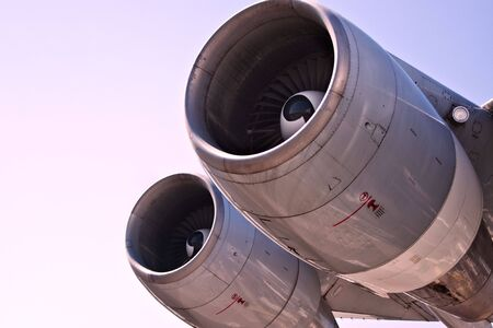 Detail view of a jet plane engine photo