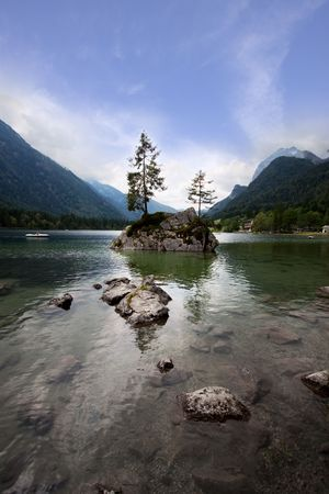 Views of the Hintersee in the bavarian alps near berchtesgaden photo
