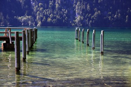 View from the Koenigssee towards the alps in summer Stock Photo - 5452307