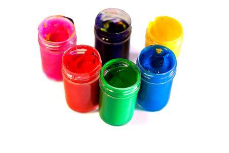 Colores para pintar con los dedos en botellas, aislado en blanco Foto de archivo - 5519259