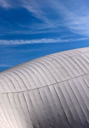 Wood and Fabric Roof Structure of a public Hall Stock Photo - 5587831