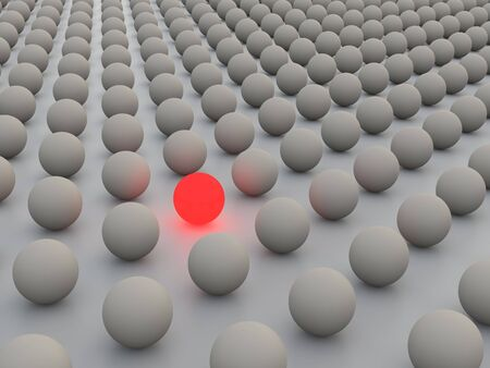 3D concept rendering depicting individualism and uniqueness, one standing out of the crowd as red light photo