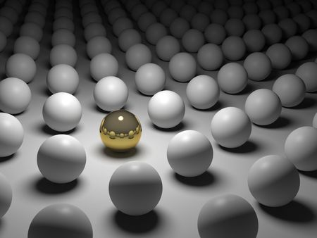 individualism: 3D concept rendering depicting individualism and uniqueness, one standing out of the grey crowd as golden sphere Stock Photo
