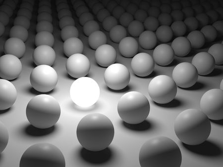 3D concept rendering depicting individualism and uniqueness, one standing out of the crowd as grey crowd as white light sphere photo